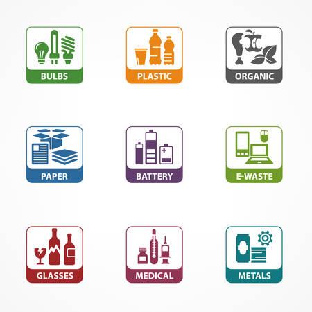 Ilustración de Garbage waste recycling square icons, line symbols of different waste sorting, garbage recycling vector illustration - Imagen libre de derechos