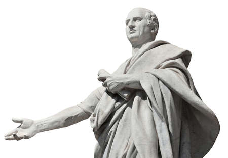 Photo for Cicero the greatest orator of the Ancient Rome, marble statue in front of the Old Palace of Justice in Rome (isolated on white background) - Royalty Free Image