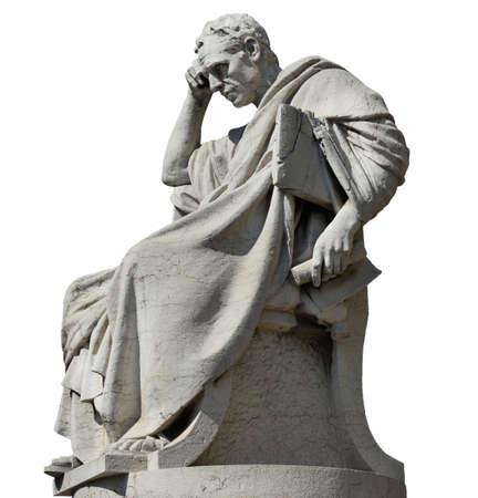 Foto de Julian the Jurist in the act of thinking statue, in front of the Old Palace of Justice in Rome (isolated on white background) - Imagen libre de derechos