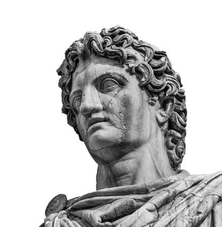 Photo for Ancient marble statue of mythical character Castor or Pollux, dated back to the 1st century BC, located at the top of monumental balustrade in Capitoline Hill, in Rome (isolated on white backgorund) - Royalty Free Image