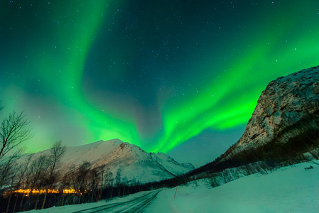 Foto per In Norway, a magical aurora borealis illuminates the sky - Immagine Royalty Free
