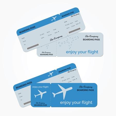 Ilustración de Variant of air ticket isolated on white background. Vector illustration - Imagen libre de derechos