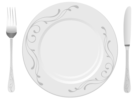 White plate with drawing, isolated on white background