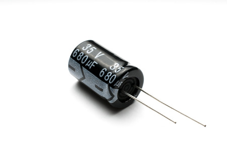 Photo pour Electrolytic capacitor isolated - image libre de droit