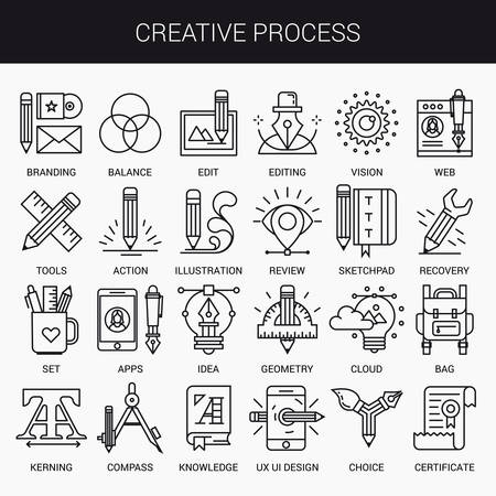 Illustration pour Simple linear icons in a modern style flat. Creative Process. Isolated on white background. - image libre de droit