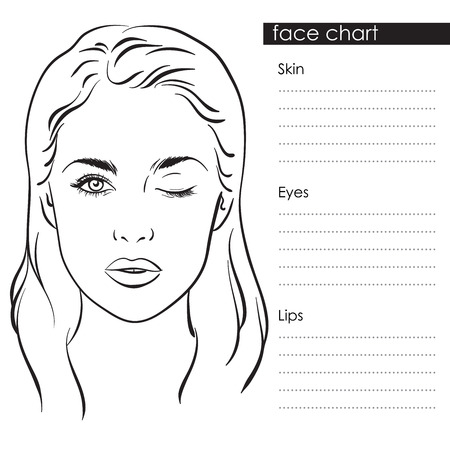 Illustration pour Beautiful woman portrait. Face chart Makeup Artist Blank Template. Vector illustration - image libre de droit