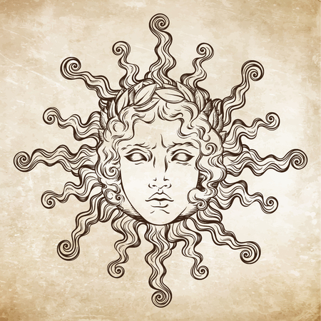 Illustration for Hand drawn antique style sun with face of the greek and roman god Apollo. Flash tattoo or print design vector illustration. - Royalty Free Image