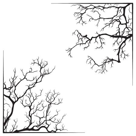 Illustration pour Branch borders halloween black and white print design vector illustration. - image libre de droit