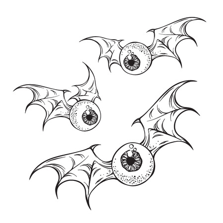 Illustration for Flying eyeballs with creepy demon wings black and white halloween theme print design hand drawn vector illustration. - Royalty Free Image