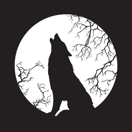 Illustrazione per Silhouette of wolf howling at the full moon vector illustration. Pagan totem, wiccan familiar spirit art. - Immagini Royalty Free