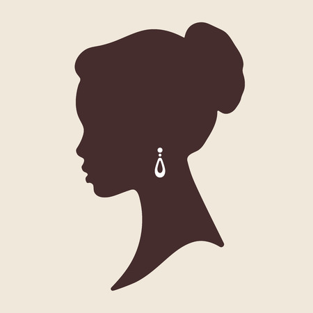 Ilustración de Silhouette of beautiful elegant african woman in profile isolated vector illustration. Beauty salon or jewelry product logo design. - Imagen libre de derechos