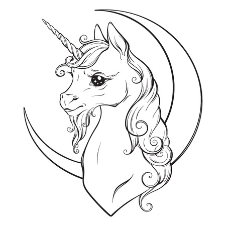 Illustration pour Little unicorn and crescent moon isolated vector illustration. Coloring book pages for adults and kids. - image libre de droit