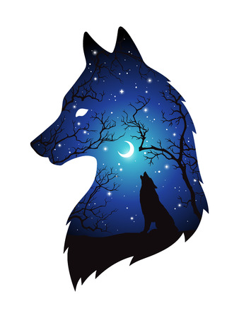 Illustrazione per Double exposure silhouette of wolf in the night forest, blue sky with crescent moon and stars isolated. Sticker, print or tattoo design vector illustration. Pagan totem, wiccan familiar spirit art. - Immagini Royalty Free