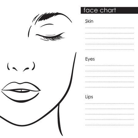 Ilustración de Beautiful woman portrait. Face chart Makeup Artist Blank Template. Vector illustration - Imagen libre de derechos