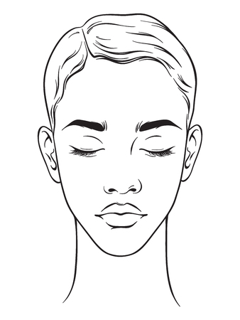 Illustration pour Beautiful african american woman with short haircut and closed eyes portrait isolated on white background. Face chart Makeup Artist Blank Template. Vector illustration. - image libre de droit