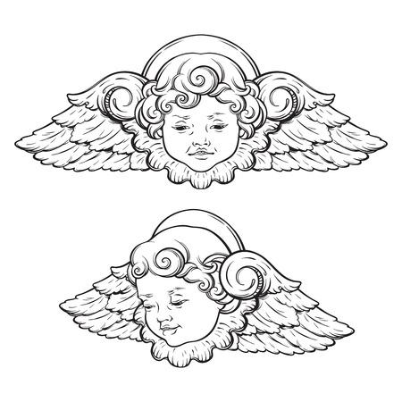 Ilustración de Cherub cute winged curly smiling baby boy angel set isolated over white background. Hand drawn design vector illustration. - Imagen libre de derechos