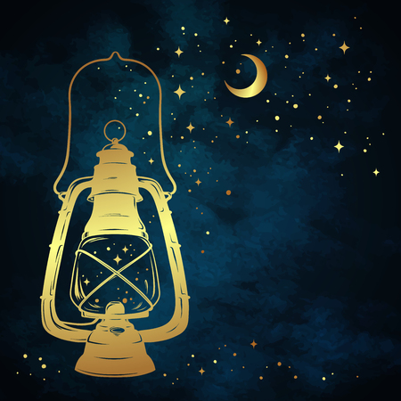Illustrazione per Golden magic oil lantern or kerosene lamp over blue night sky background with gold moon and stars hand drawn vector illustration - Immagini Royalty Free