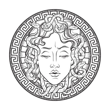 Ilustración de Medusa Gorgon head on a shield hand drawn line art and dot work tattoo or print design isolated vector illustration. Gorgoneion is a protective amulet - Imagen libre de derechos