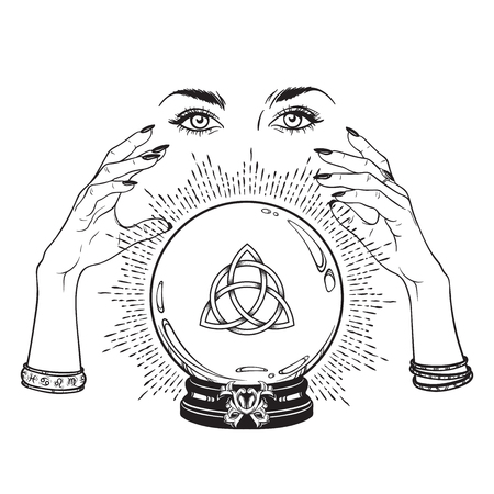 Ilustración de Hand drawn magic crystal ball with Triquetra or Trinity knot in hands of fortune teller line art and dot work. Boho chic tattoo, poster or altar veil print design vector illustration - Imagen libre de derechos