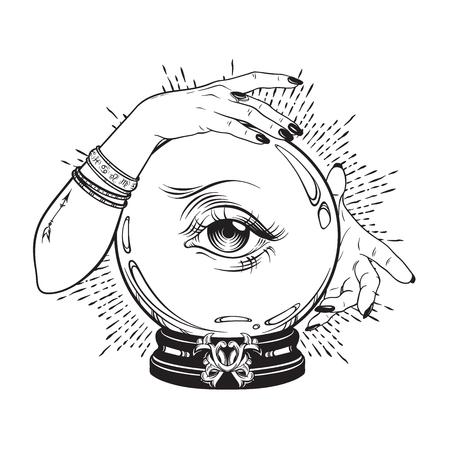 Ilustración de Hand drawn magic crystal ball with eye of providence in hands of fortune teller. Boho chic line art tattoo, poster or altar veil print design vector illustration - Imagen libre de derechos