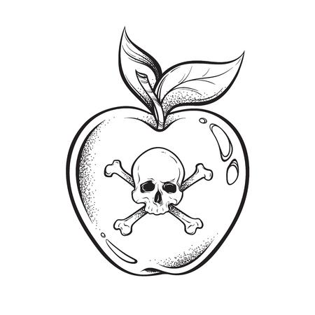 Illustration for Poison apple line art and dot work hand drawn vector illustration. Boho style sticker, patch, print or blackwork flash tattoo design - Royalty Free Image