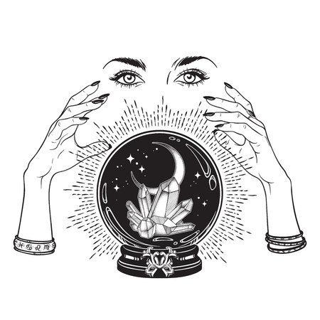Illustration pour Hand drawn magic crystal ball with gems and crescent moon in hands of fortune teller line art and dot work. Boho chic tattoo, poster, tapestry or altar veil print design vector illustration - image libre de droit