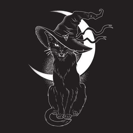 Illustrazione per Black cat with pointy witch hat line art and dot work. Wiccan familiar spirit, halloween or pagan witchcraft theme tapestry print design vector illustration - Immagini Royalty Free