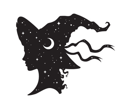 Illustration pour Silhouette of beautiful curly witch girl in pointy hat with crescent moon and stars in profile isolated hand drawn vector illustration - image libre de droit