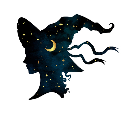 Ilustración de Silhouette of beautiful curly witch girl in pointy hat with crescent moon and stars in profile isolated hand drawn vector illustration - Imagen libre de derechos