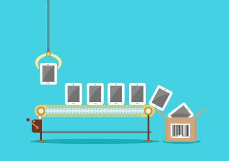 Illustration pour Production Line of Touchscreen Tablet Phones  Package Box with UPC  - image libre de droit