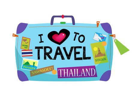 Illustration pour Baggage with sticker about Thailand and text I Love To Travel - image libre de droit