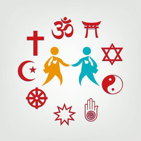 Illustration pour Interfaith Dialogue illustration. Editable Clip Art. Religious symbols surrounding two persons. - image libre de droit