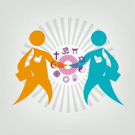 Illustration pour Interfaith Dialogue Flat concept. Editable Clip Art. Two leaders meet and shakes hand. Religious symbols on Figures' Handshake. - image libre de droit