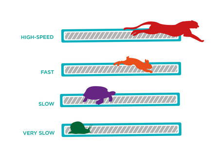 Ilustración de Computer or Wifi Speed. Speed Animals Loading Bar technology - Imagen libre de derechos