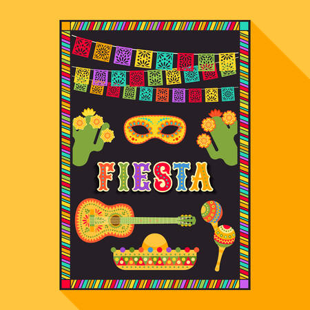 Illustration for Vector fiesta postcard with icons of blossom cactus, sombrero, maraca, guitar, carnival mask and decorative text in ornate frame. Event vector illustration with mexican design elements - Royalty Free Image