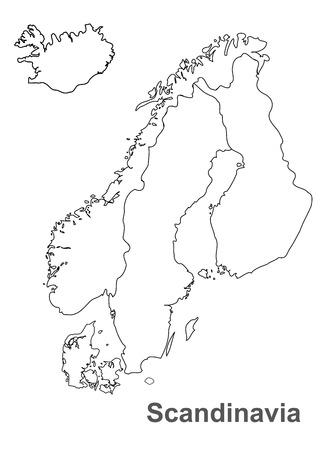 Ilustración de Scandinavia map in white background, scandinavia map vector, map vector - Imagen libre de derechos
