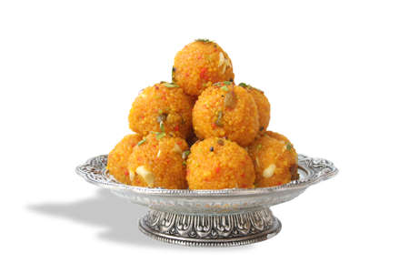Foto de Indian Traditional Laddu Sweet Food Also Know as Motichoor Laddu - Imagen libre de derechos