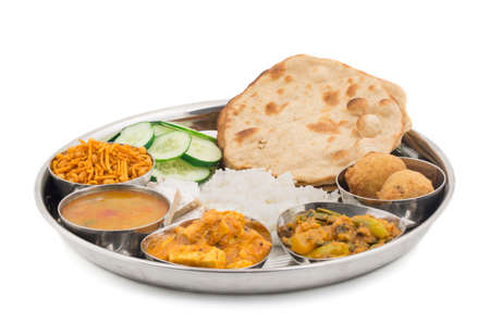Photo for Group of Indian Food or Indian Thali, south indian thali, south indian compleat meal, south indian complete lunch - Royalty Free Image