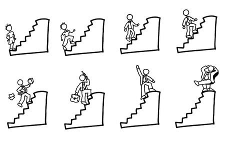 Ilustración de doodled businessman going up the stairs of his carreer - Imagen libre de derechos