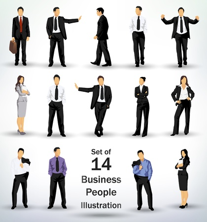 Illustration for Collection of business people in different poses - Royalty Free Image