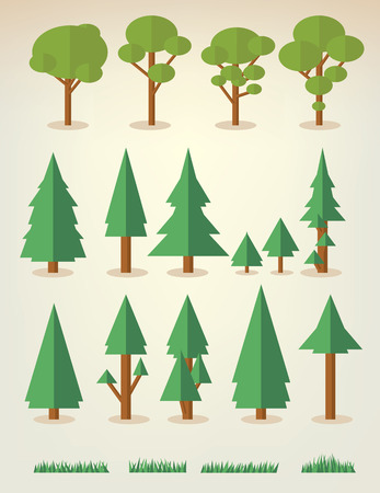 Illustration pour set of flat trees and grass including pine and deciduous trees - image libre de droit