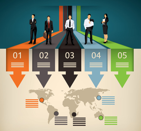 Illustration pour Infographic template of five different option and a world map with points of interest and a business team people illustration - image libre de droit
