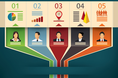 Ilustración de Business flow chart vector infographic template showing team members or management with designated fields of expertise cooperating and working in unity to an outgoing arrow - Imagen libre de derechos