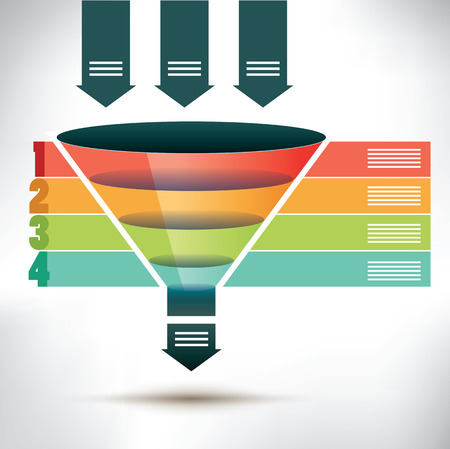 Ilustración de Funnel flow chart template with three arrows showing input into the funnel passing four colored banners to organize, condense and streamline into one output arrow below, vector illustration - Imagen libre de derechos