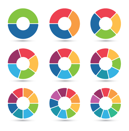 Ilustración de Collection of circular diagrams with 2, 3, 4, 5, 6, 7, 8, 9 and 10 segments - Imagen libre de derechos