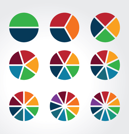 Illustration pour Set of segmented spheres used as charts, diagrams and for infographics - image libre de droit