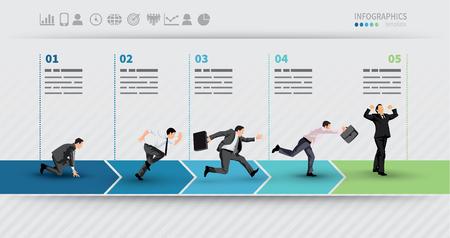 Ilustración de Presentation Template of a progress illustrated with businessman in hurry in each step - Imagen libre de derechos