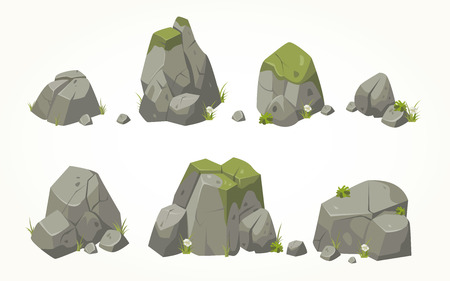 Illustration pour Collection of stone illustrations drawn in the same style - image libre de droit