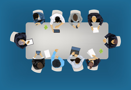 Ilustración de Business meeting concept illustration in an aerial view with people sitting around a conference table - Imagen libre de derechos