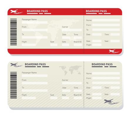 Illustration pour Illustration of two different airplane ticket template - image libre de droit